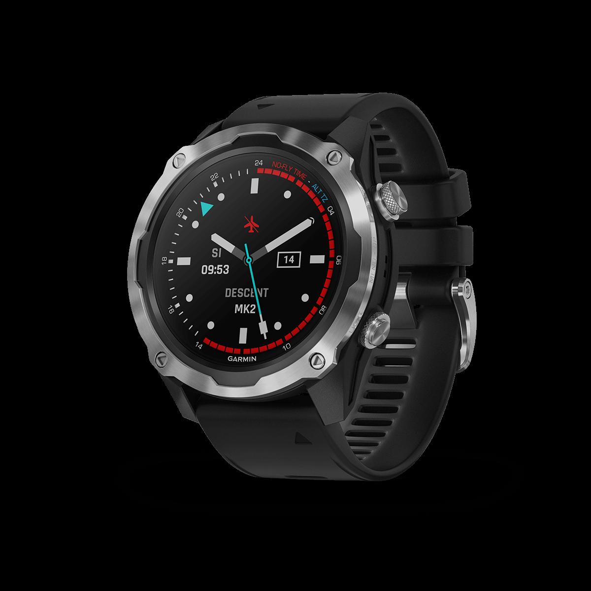 Garmin Descent™Mk2, Edelstahl mit schwarzem Armband